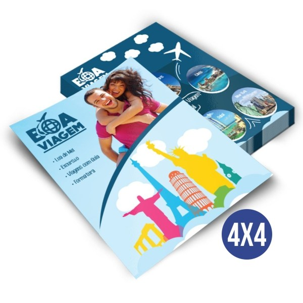 2.500 Flyers - 100x140mm Couchê - 90g - 4x4 Refile